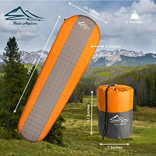 Raw Alpine Self Inflating Sleeping Pad 2 Inch Thickness And Foam Insulated For Comfortable Sleep Mat is Lightweight And Compact For Backpacking Outdoor Camping And Hiking For Women Men And Kids