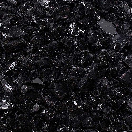 "Celestial Fire Glass Crushed Fire Glass - Onyx Black (1/2"" to 3/4"") | 10 Pound Jar"