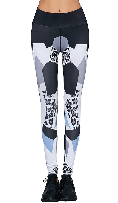 2017 Color Blocks with Leopard Print Yoga Pants Stretchy Slim Sport Skinny Leggings Full Length