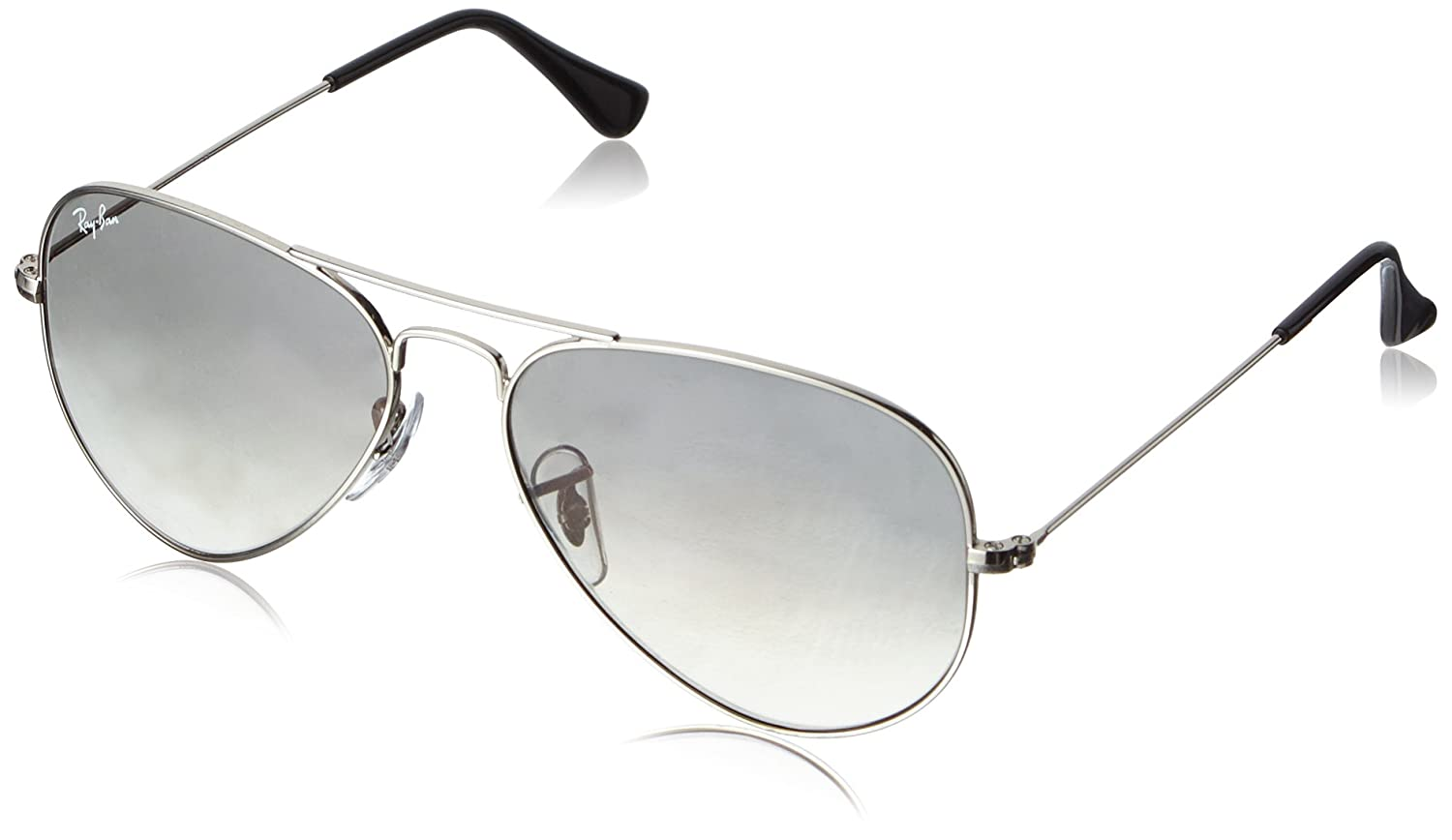 ray ban rb3025 iconic aviator sunglasses  amazon: ray ban 0rb3025 aviator metal non polarized sunglasses, silver/ crystal grey gradient, 55mm: ray ban: clothing