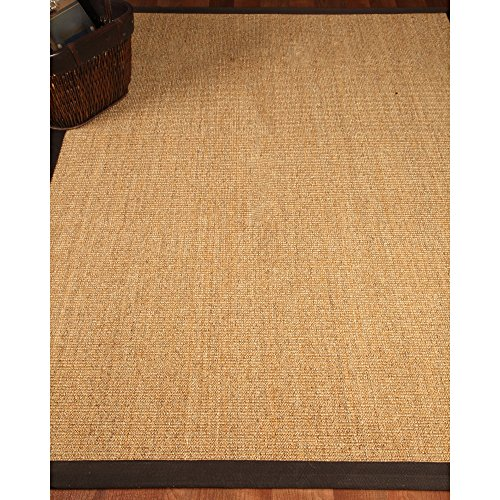 NaturalAreaRugs Natural Fiber Montreal Sisal Area Rug, Handmade, Cotton Canvas Border, Non-Slip Latex Backing, Stain Resistant, (9'x 12') Fudge - Slip Rug Non Sisal Latex