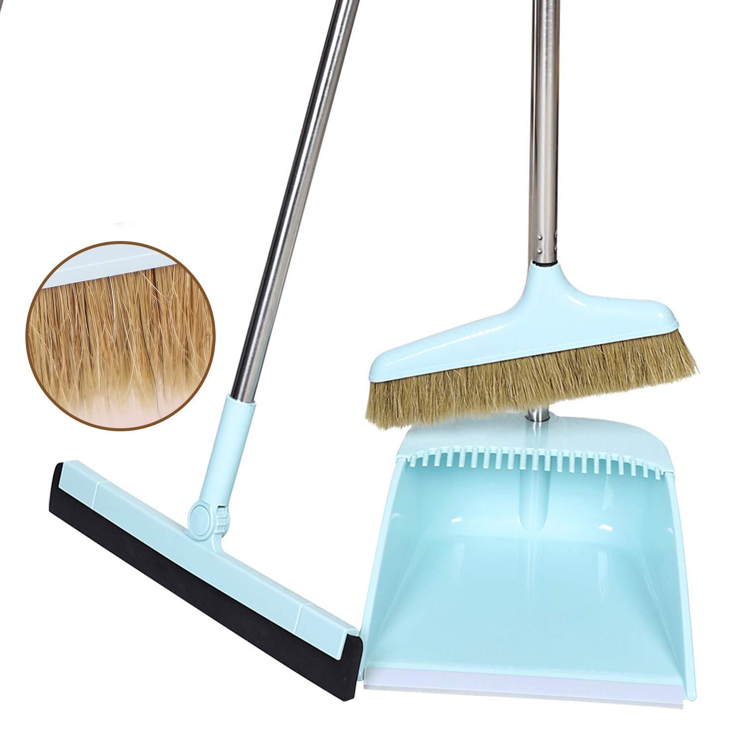 Midoneat Broom and Dustpan Set Squeegee 3 Packs Good Grips Sweep Set with Long Handle Natural hog Bristle Broom Rubber Lip Dustpan with Comb 180° Rotation Wiper .Sweeping for Kitchen Lobby Office by midoneat