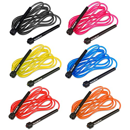 Garage Fit 9' Adjustable PVC Jump Rope for Cardio Fitness - Versatile Jump Rope for Both Kids and Adults - Great Jump Rope for Exercise (Bundle of all six colors)