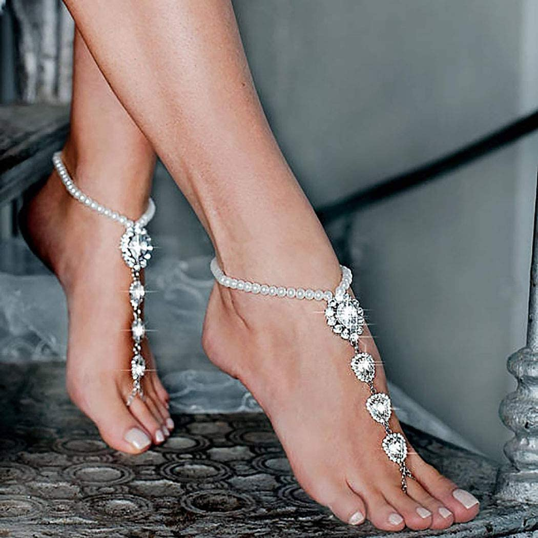 Campsis Rhinestone Anklet Pearl Silver Ankle Bracelet Wedding Summer Barefoot Sandals Foot Chain Jewelry for Women and Girlsoot Chain Summer Foot Jewelry for Women and Girls
