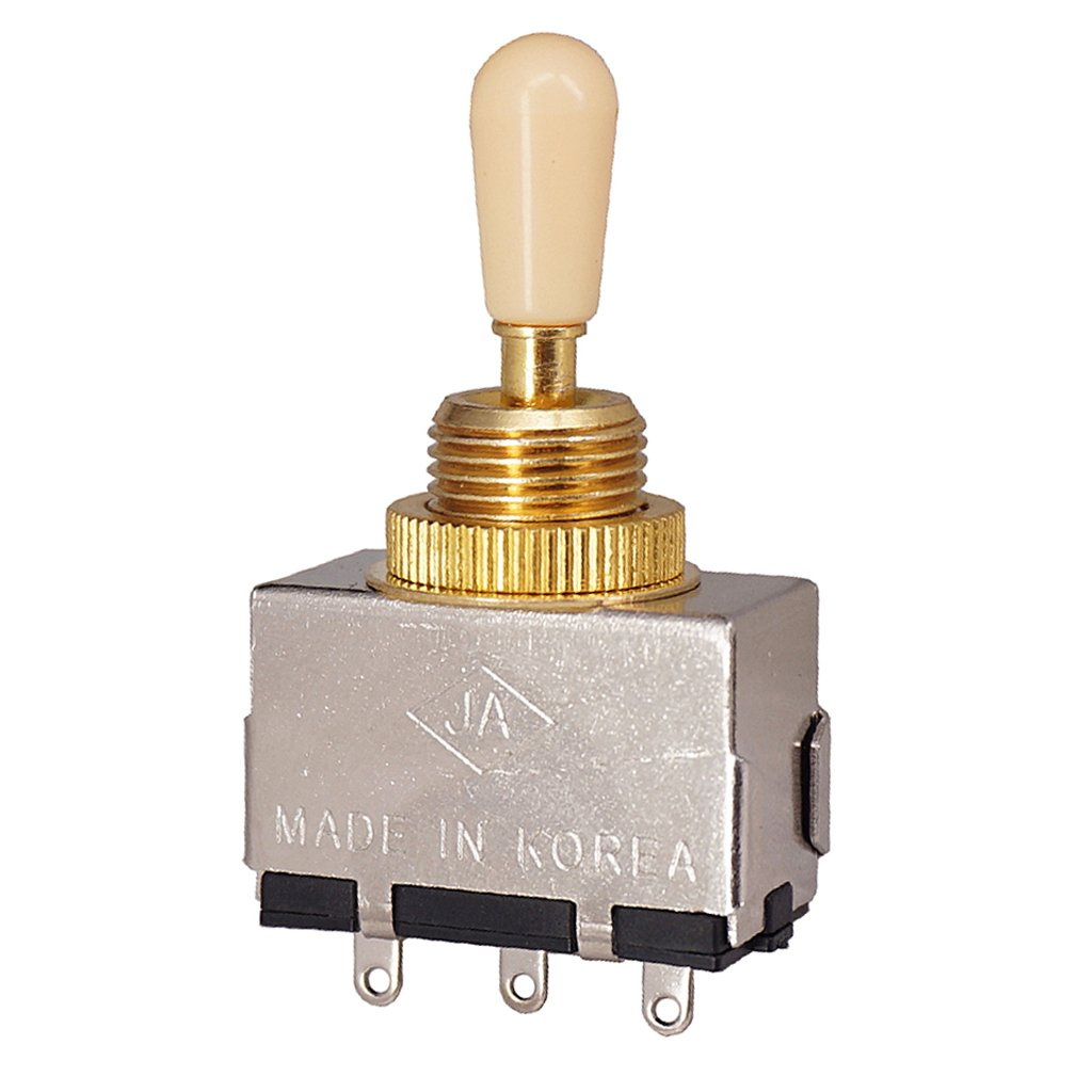 Baoblaze Durable Closed 3 Way Yellow Knob Pickup Selector Tone Toggle Switch for Gibson Les Paul Epiphone Electric Guitar 1.96 x 1.37inch