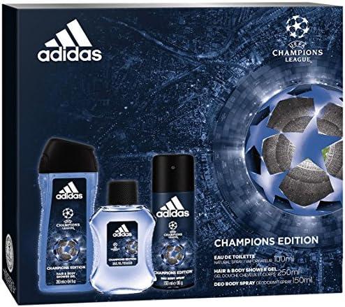 adidas – Juego 3 productos UEFA 4 Champions Edition Eau de Toilette 100 ml + Desodorante 150 ml + Gel de ducha 250 ml: Amazon.es: Belleza