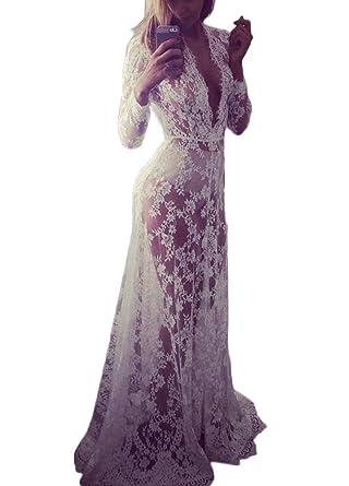 Romacci Damen Strand Langes Kleid Tiefem V Ausschnitt Lace