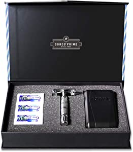 Dorco Prime Starter Set: Double Edge Safety Butterfly Shaver Handle, 30 Double Edge Razor Blades and Travel Case