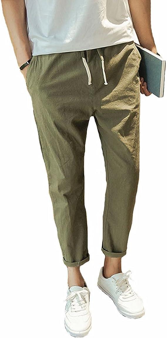 Herren Casual Strandhosen Stretch Leichte Lange Hose Sommerhose mit Kordelzug