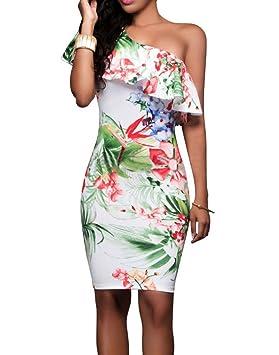 Vestidos Mujer Vestidos de Fiesta Cortos Bodycon con Volantes Flores Hombro Atractivo Elegante y Encantador para