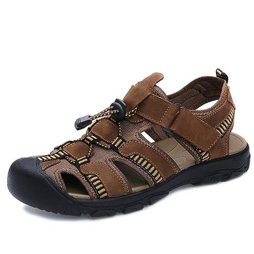 Sandalias De Hombre Zapatillas De Playa De Cuero De Verano Zapatillas De Punta Cerrada De Goma Antideslizante: Amazon.es: Zapatos y complementos