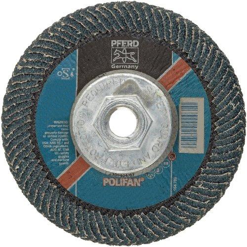 PFERD Polifan PSF Abrasive Flap Disc, Large Radius, Radial Shape, Threaded Hole, Phenolic Resin Backing, Zirconia Alumina, 5 Dia., 40 Grit (Pack of 1)