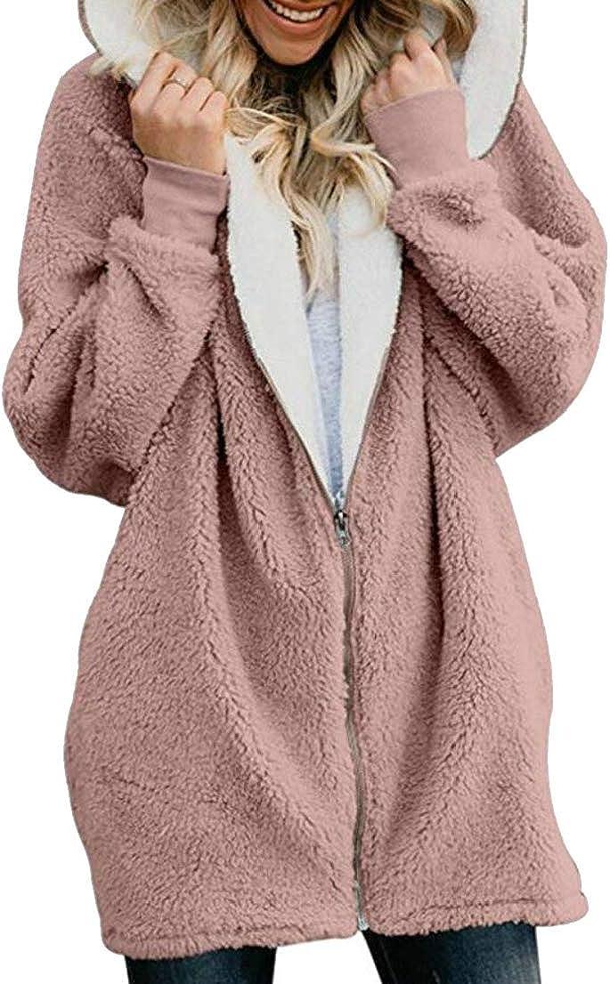Generic Womens Casual Hooded Fluffy Zip Up Thicken Jacket Plush Sweatshirts Pink XXL