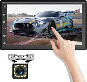 Android 9.1 Double Din Car Stereo Radio with Bluetooth 7 Inch Touchscreen Head Unit Support GPS Navigation Receiver FM Radio WiFi Android iOS Mirror Link + Backup Camera
