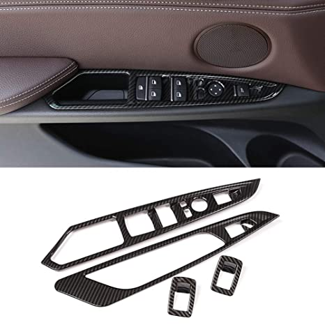 fe9c39cb1b2 Image Unavailable. Image not available for. Color  Scoorcar Carbon Fiber  Car ABS Chrome Door Window Button Panel Frame Trim for BMW ...