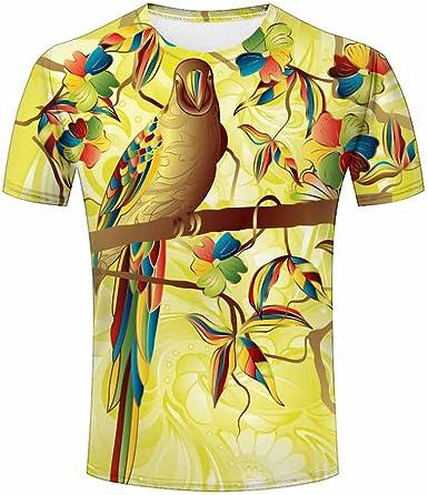 Mens Original T-Shirt Parrot 3D Printed Animal Short Sleeve T-Shirt