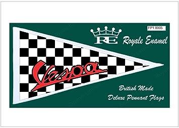 ROYALE ENAMEL CAR SCOOTER MOD ANTENNA PENNANT FLAG VESPA MOD TARGET CHECKS FP1.0005