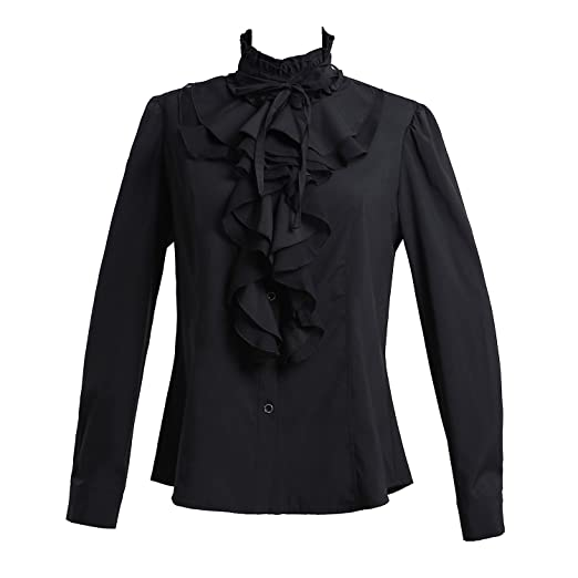d7e66886a4 Taiduosheng Women Shirts Lace Ruffle Neck Stand-Up Collar Button down  Blouse Long Sleeve OL