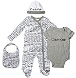 Calvin Klein Baby 4 Piece Gift Set, Ck Logo Print As, 0-3 Months