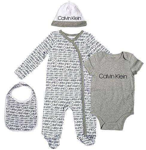 Calvin Klein Baby 4 Piece Gift Set, Ck Logo Print As, 0-3 Months by Calvin Klein