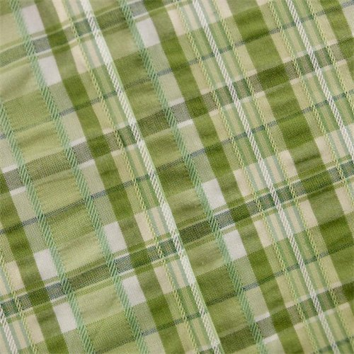 Green Seersucker Plaid Home Decorating Fabric, Fabric By the Yard - Plaid Fabric Seersucker