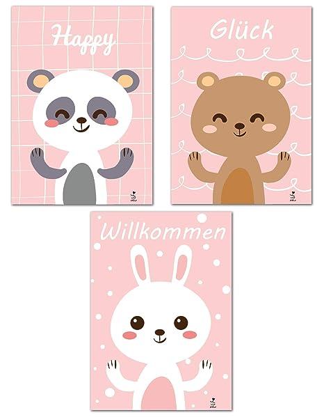 Love & Smile | 3er Set Poster Rosa | Kinderzimmer Deko ...