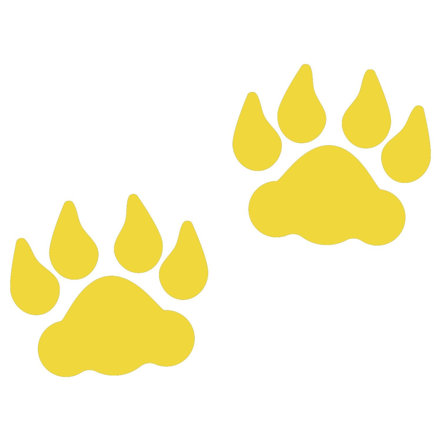 LiteMark 4 Inch Yellow Removable Lion Tracks Decal Stickers for Floors and Walls - Pack of 30