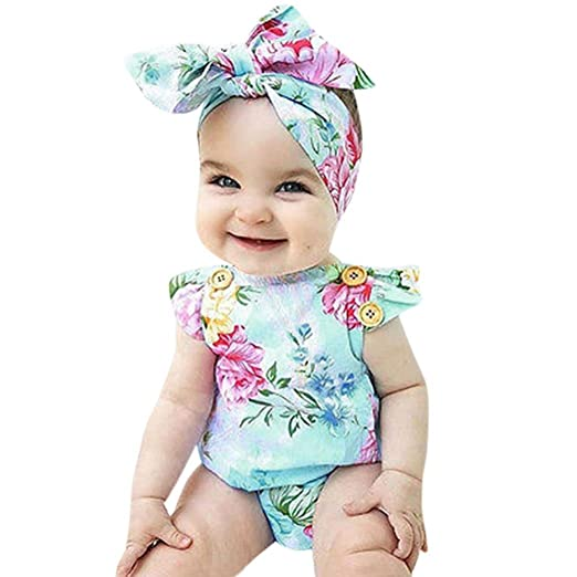5d0bed89299c Baby Girl Rompers 2018 new Toddler Girls Summer Clothing Flower Print  Romper Jumpsuit Bowknot Headband Newborn Clothes