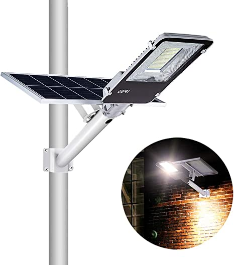 Amazon Com Solar Street Light 80w Dusk To Dawn Solar Security Lamp 6500k Ip65 Waterproof Solar Powered Flood Lights With Remote Control Security Area Night Lighting For Yard Driveway Village Patio Home Improvement