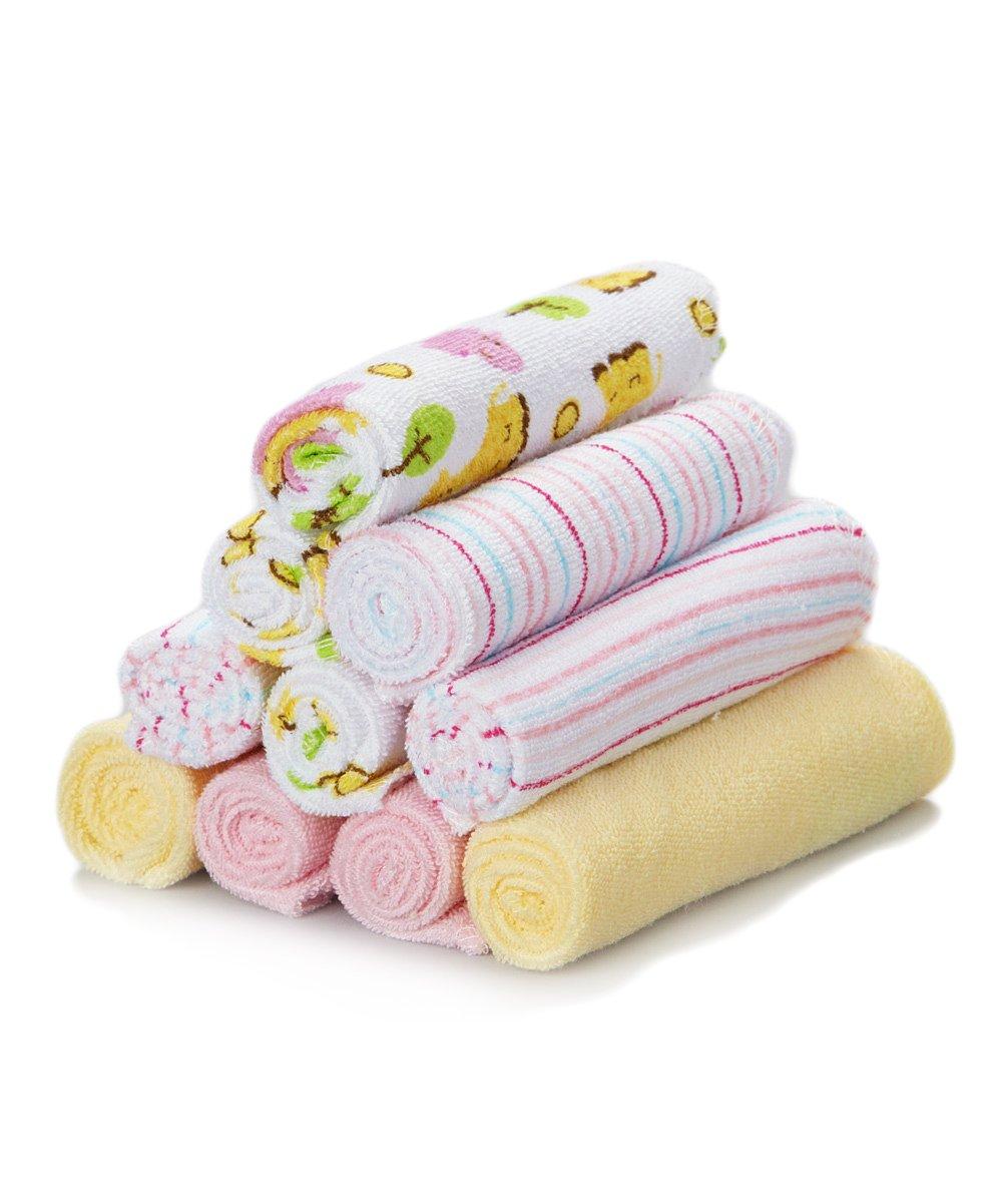 Spasilk 10 pack Soft Terry Washcloth- Yellow Stripes 010-LINE04