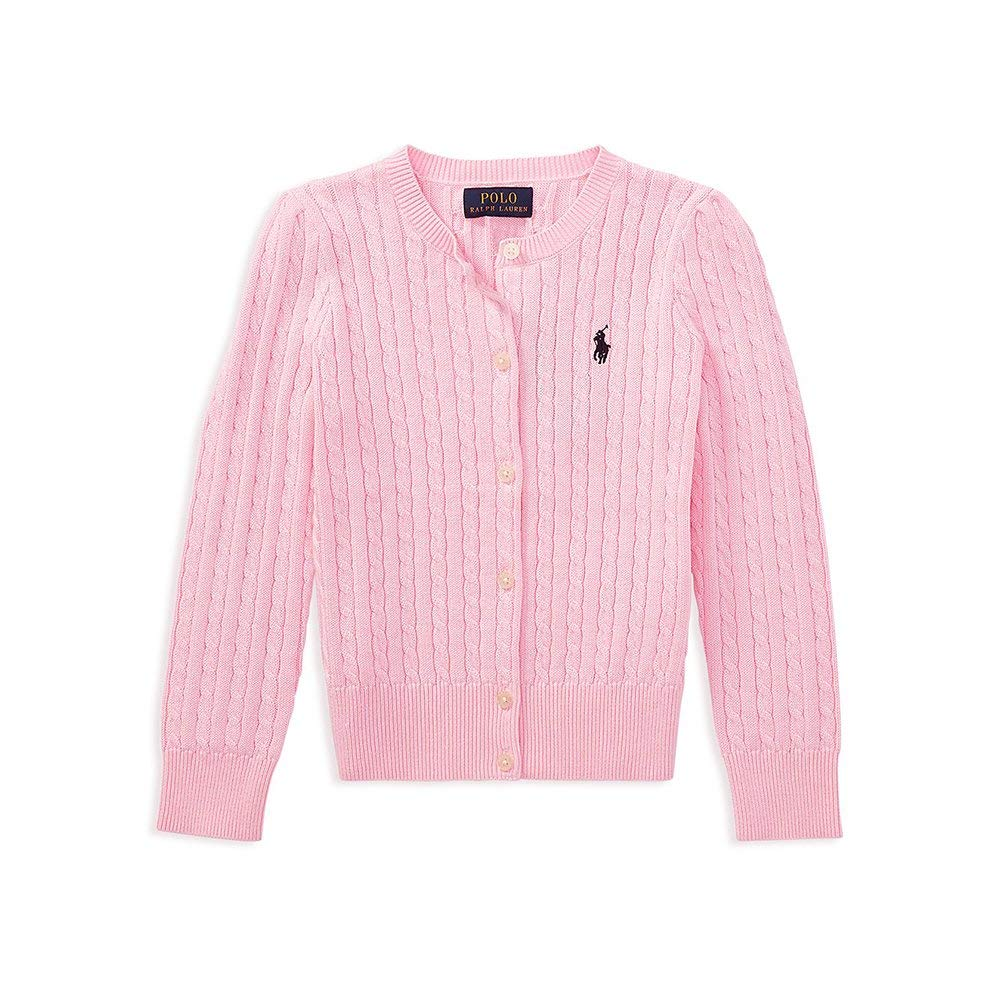Polo Ralph Lauren Toddlers Girls Buttoned Down Cable Knit Crew-Neck Sweater Carmel Pink (2/2T)