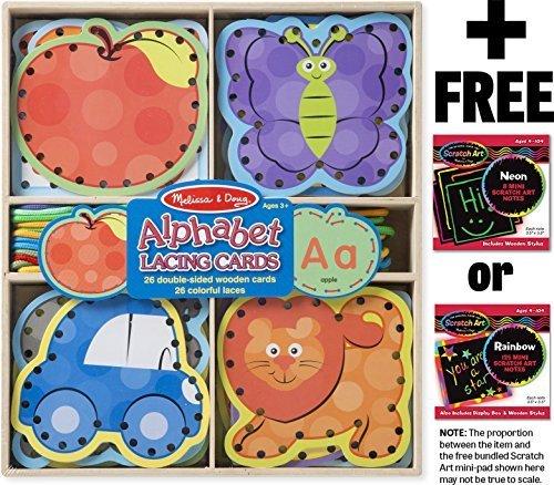 Alphabet Cards Set - Alphabet Lacing 26-Wooden Cards Set + FREE Melissa & Doug Scratch Art Mini-Pad Bundle [94900]