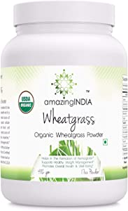 Amazing India USDA Certified Organic Wheatgrass Power (Non-GMO) 482 gm (16 oz ) *Helps in the Formulation of Hemoglobin , Supports Healthy Weight Management,Promotes Overall Health & Well-being *