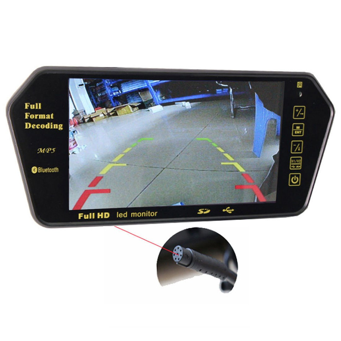 PONPY 7 Inch Color TFT LCD Screen Full HD 800x480 FM USB SD MP5 Bluetooth Car Rear View In-mirror Video Monitor
