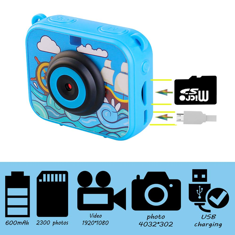 denicer Waterproof Action Kids Camera with 2.0 Inch LCD Display 12MP HD Underwater Camera Camcorder with 32G SD Card for 4-12 Boys and Girls Festive Gift-Blue by denicer (Image #3)