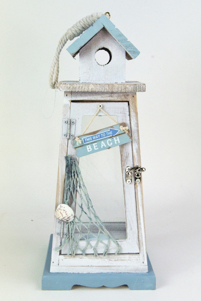 Four Seasons- Nautical Rustic Blue and White Lighthouse style Candle Tealight Lantern Four Seasons Liverpool