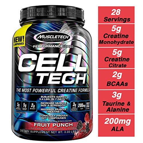 MuscleTech Cell Tech Creatine Monohydrate Formula Powder, HPLC-Certified, Improved Muscle Growth & Recovery, Fruit Punch, 30 Servings (3.09lbs)