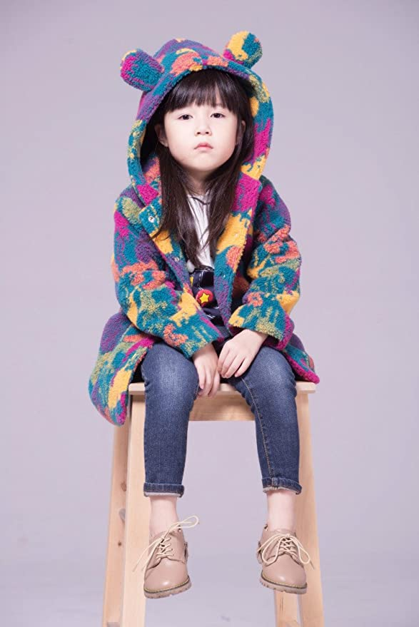 AERLIS Children Girl Rainbow Winter Jacket Thick Warm Dress Coat
