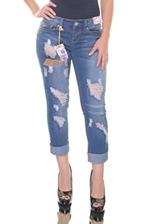 10707f1adf98f Indigo Rein Juniors  Ripped Medium Blue Wash Cuffed Skinny Jeans (Size ...