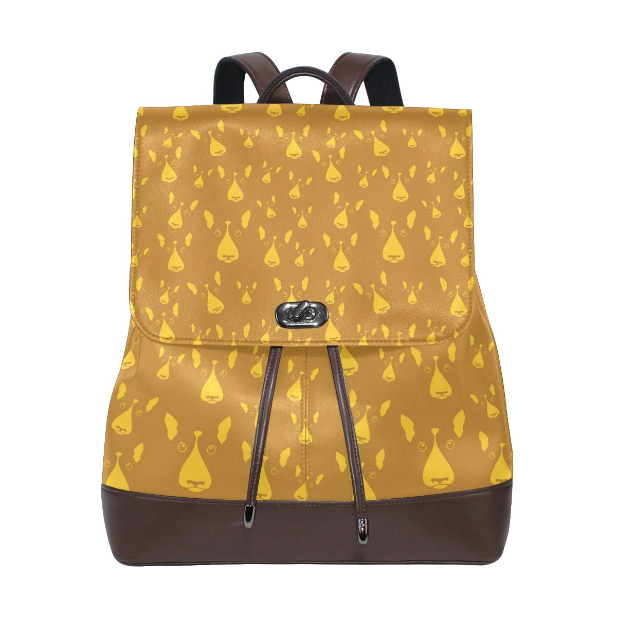 Leather Happy Dog Gold Backpack Daypack Bag Women