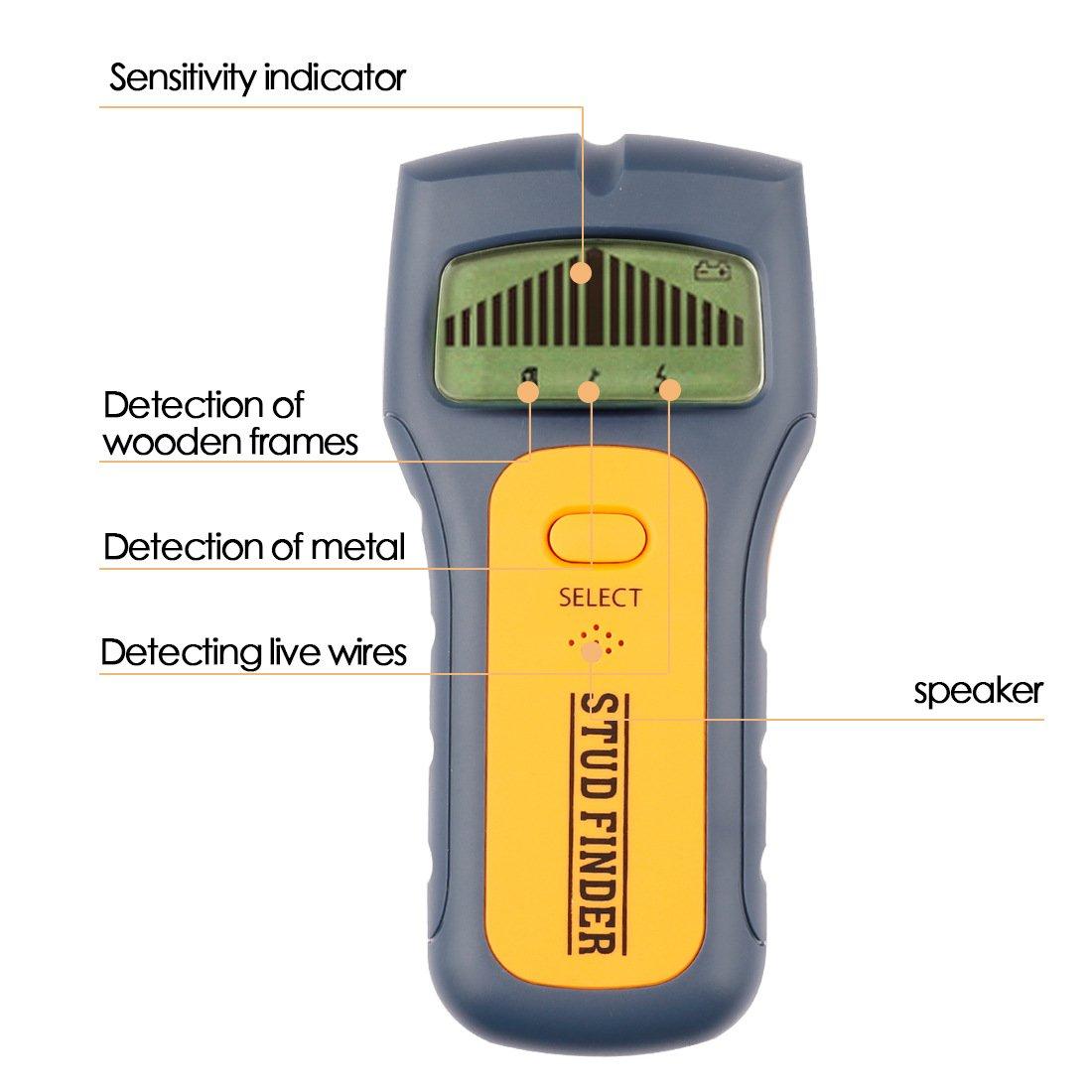 Detector/sensor de escaneo multifuncional de pared para detectores de madera y detectores de metales y alambre de CA/ayudante de decoración de hogar y ...