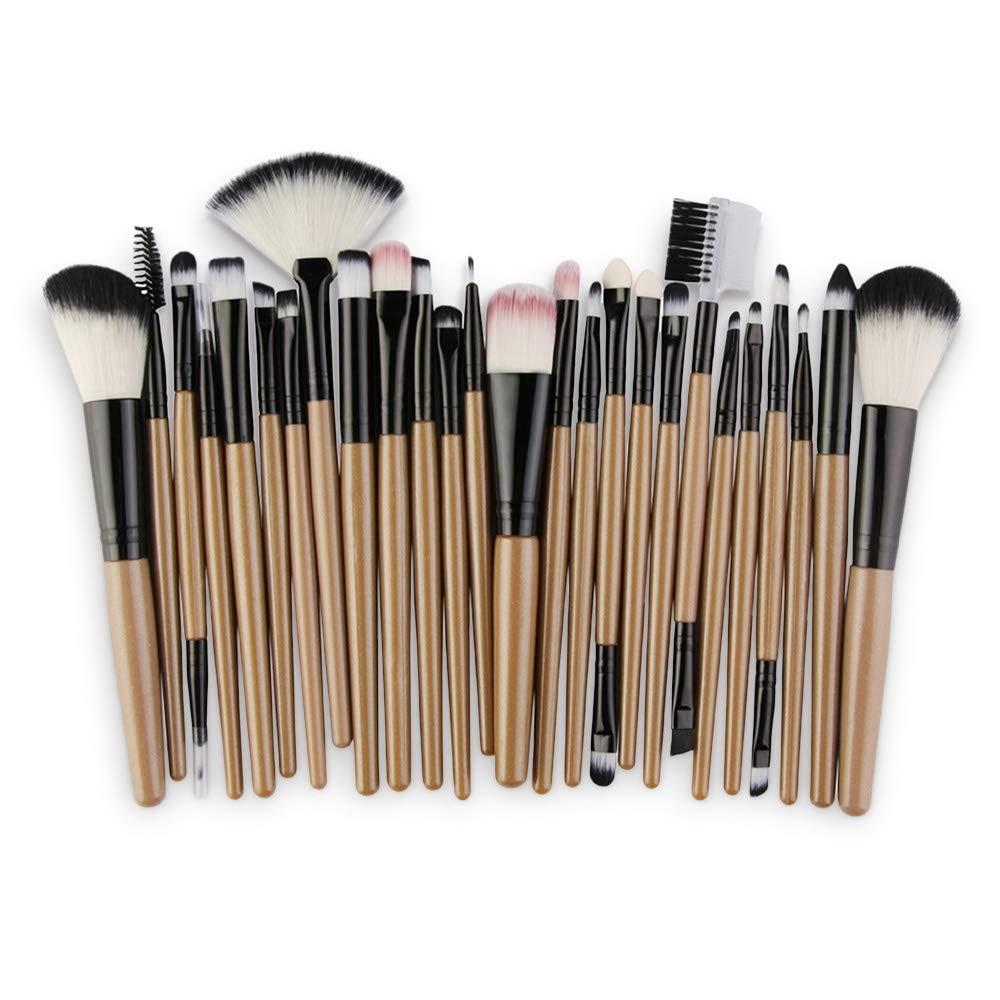 Ruiting 25 Pièces Collection de Pinceaux de Maquillage en Fibre de Haute Qualité Multifonctionnels Outils de Maquillage BRUN