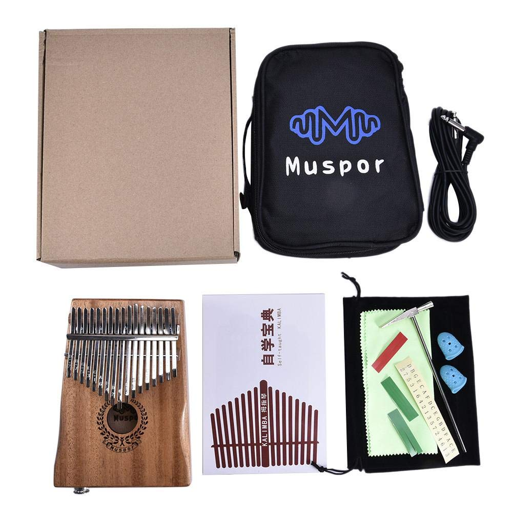 Per 17 Keys Kalimba Portable Thumb Piano Solid Finger Piano Mbira/Marimba Mahogany Body with Tune Hammer&Instruction Beginner Friendly Electric Pickup Bag + Cable by Per (Image #3)