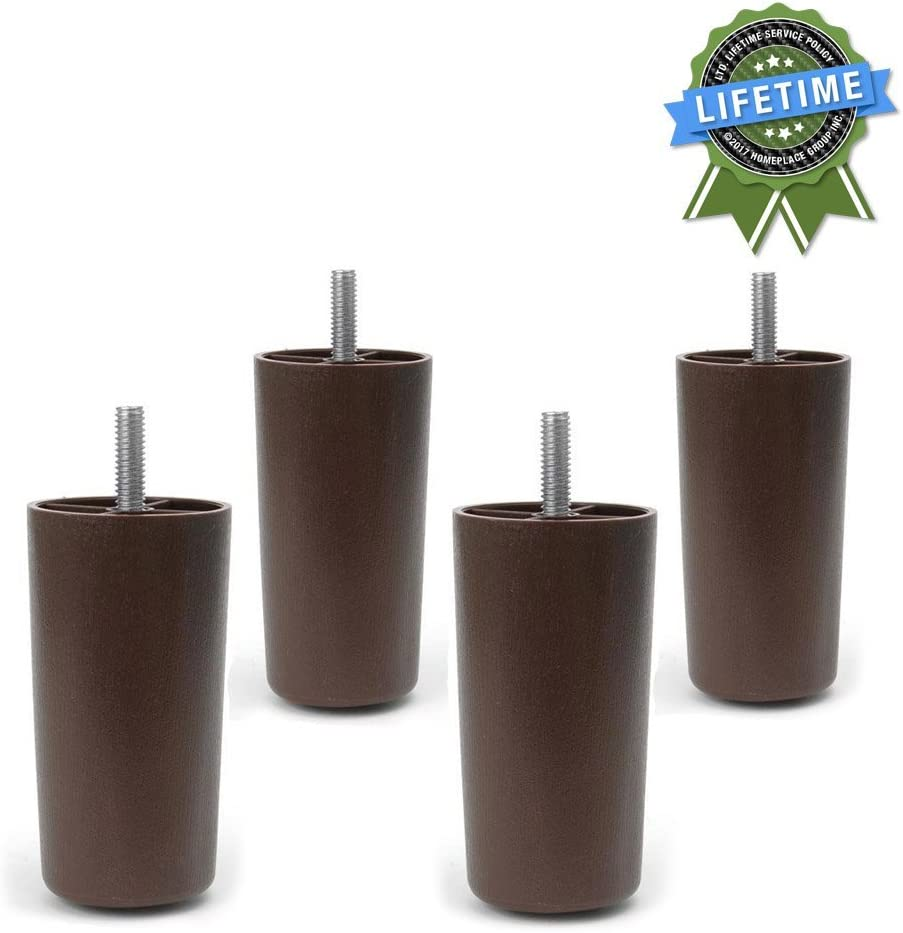 """Leg Daddy 4"""" Round Tapered Plastic Sofa, Couch, and Chair Legs, Set of 4"""