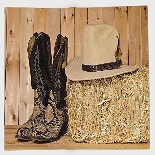 Polyester Bandana Headband Scarves Headwrap,Western Decor,Snake Skin Cowboy Boots Timber Planks in Barn with Hay Old West Austin Texas,Cream Brown,for Women Men (Austin Bedskirt)