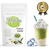 Japanese French Vanilla Matcha Tea Powder (100g) - Rich in Antioxidants, Supports Weight Loss and Boosts Energy - Great for Green Tea, Frappes or Lattes - Infused with Natural Flavor, No Sugar Added