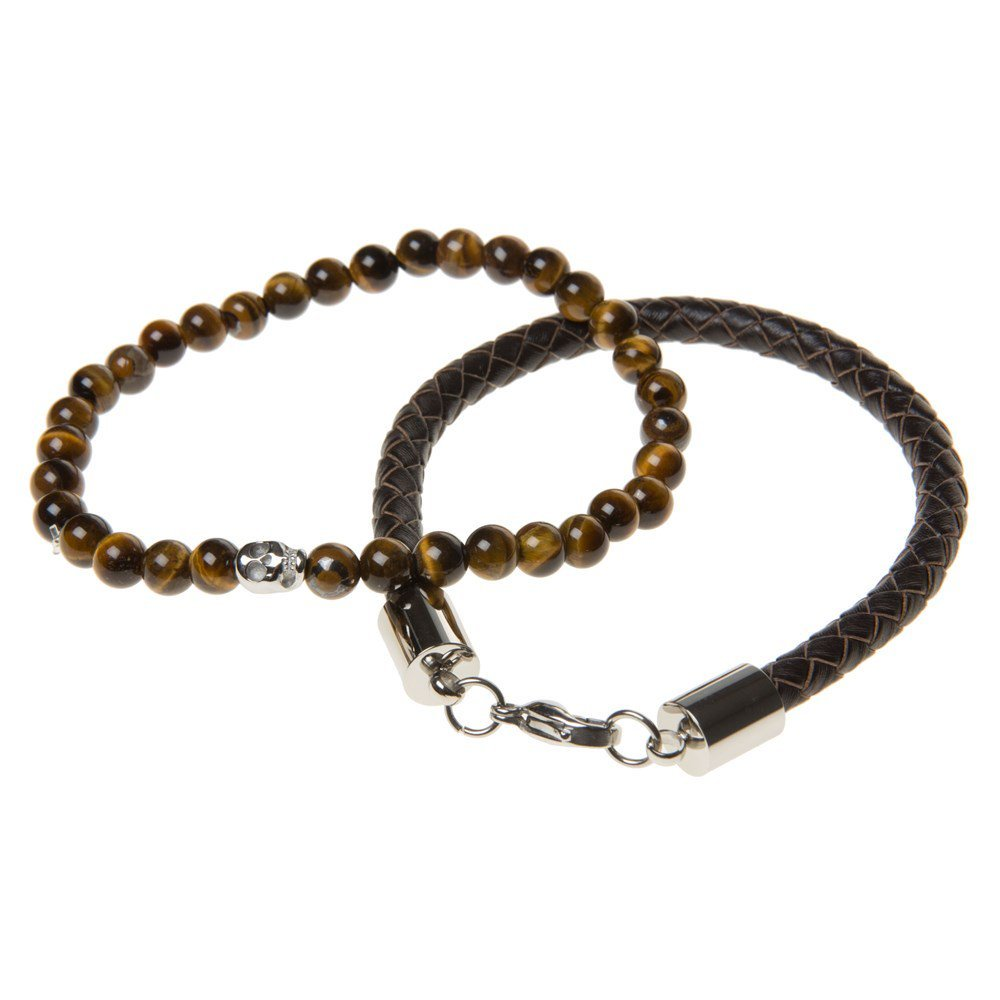 SIMON CARTER Twin Leather And Bead Mens Bracelets Brown