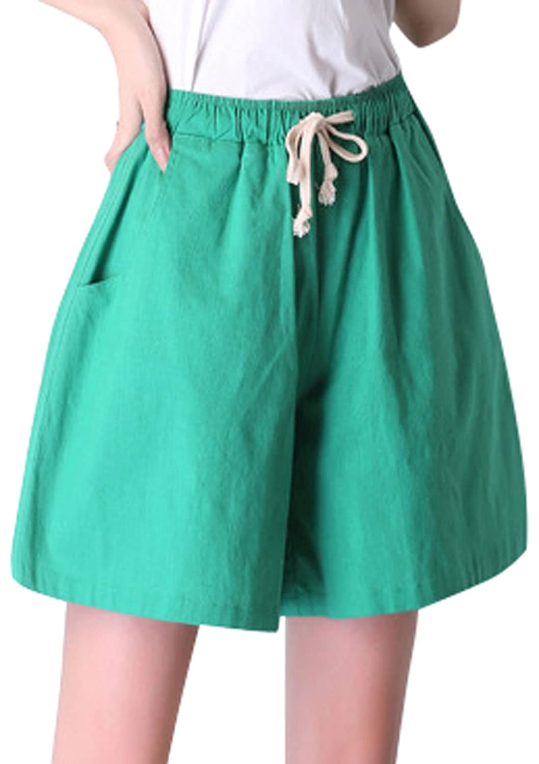 M Green Qiuse Women's Casual Wide Legs Elastic Waist with Drawstring Bermuda Shorts