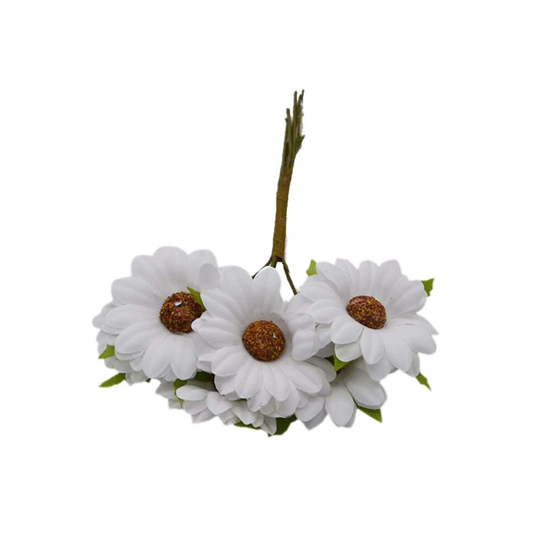 造花 ヒマワリ ウェディングフラワーブーケ スクラップブック シルクデイジーシミュレーション パーティー ホームデコレーション フラワー ホワイト 12本セット B07Q72Q38H
