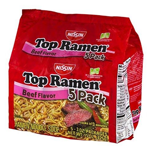 Nissin Top Ramen Beef Flavor - 5 CT (Ramen Nissin Top Beef)
